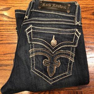 Rock Revival Debbie Straight Leg Blue Jeans